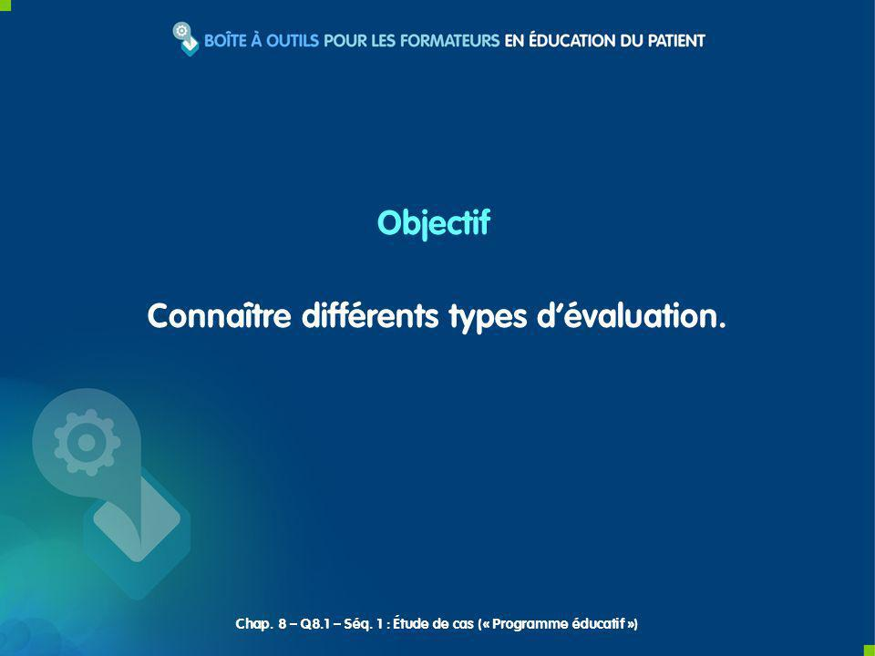 Connaître différents types d'évaluation.