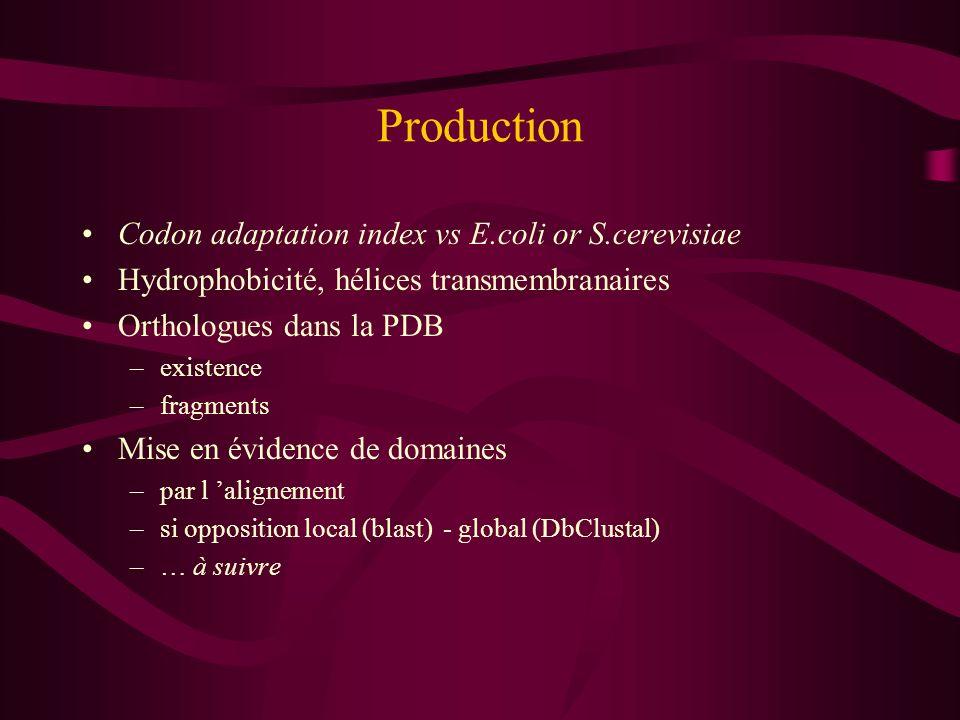 Production Codon adaptation index vs E.coli or S.cerevisiae