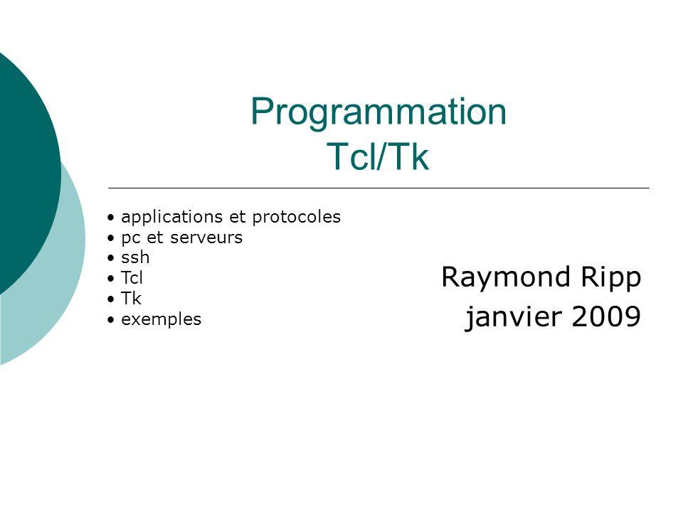 Programmation Tcl/Tk Raymond Ripp janvier 2009