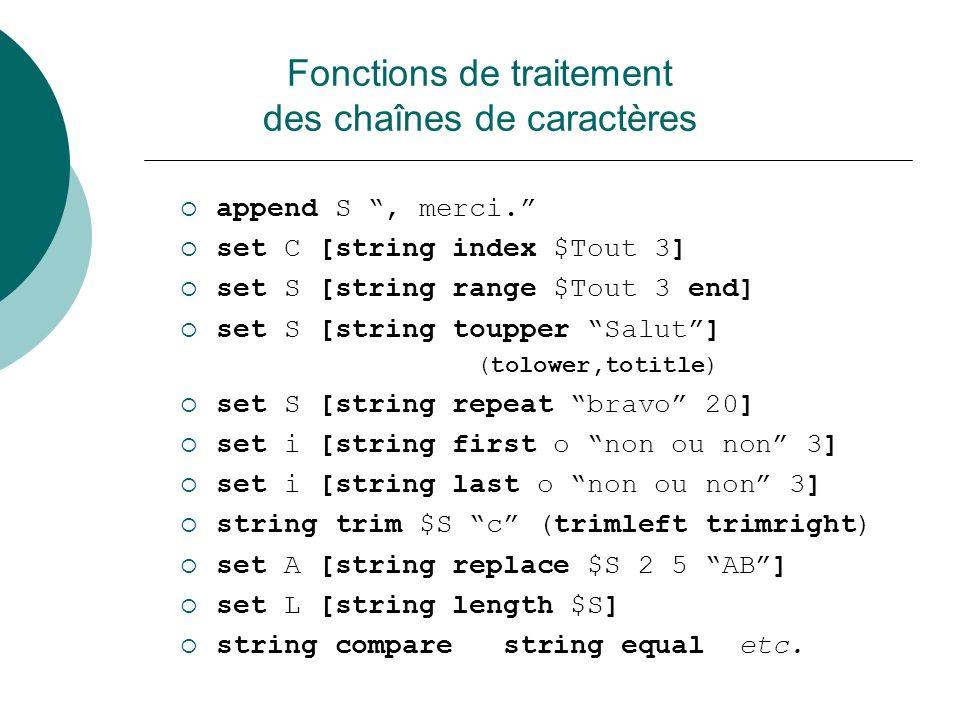 Fonctions de traitement des chaînes de caractères
