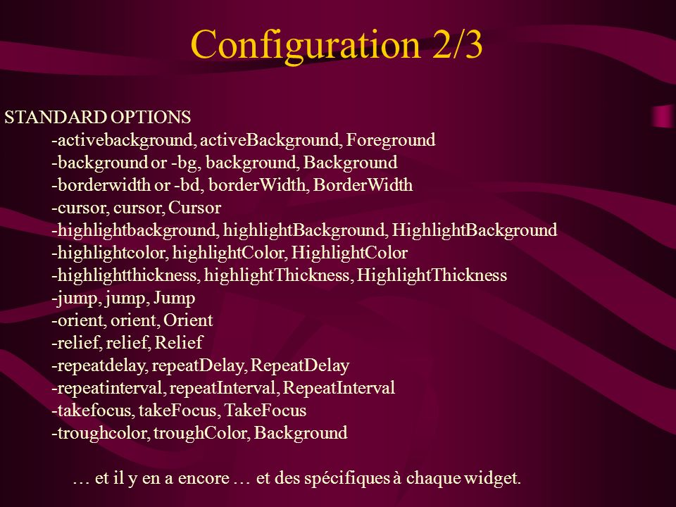 Configuration 2/3 STANDARD OPTIONS