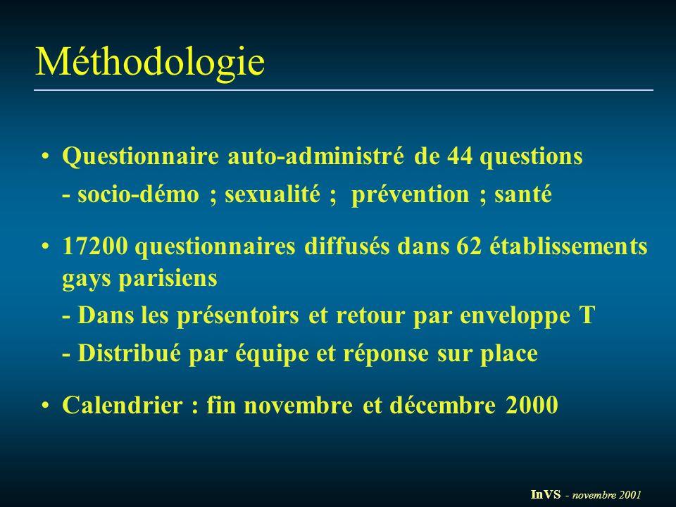 Méthodologie Questionnaire auto-administré de 44 questions