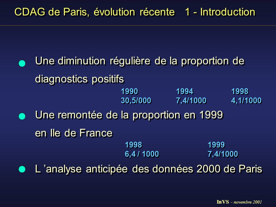 CDAG de Paris, évolution récente 1 - Introduction