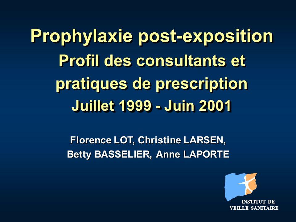 Prophylaxie post-exposition Profil des consultants et pratiques de prescription Juillet 1999 - Juin 2001