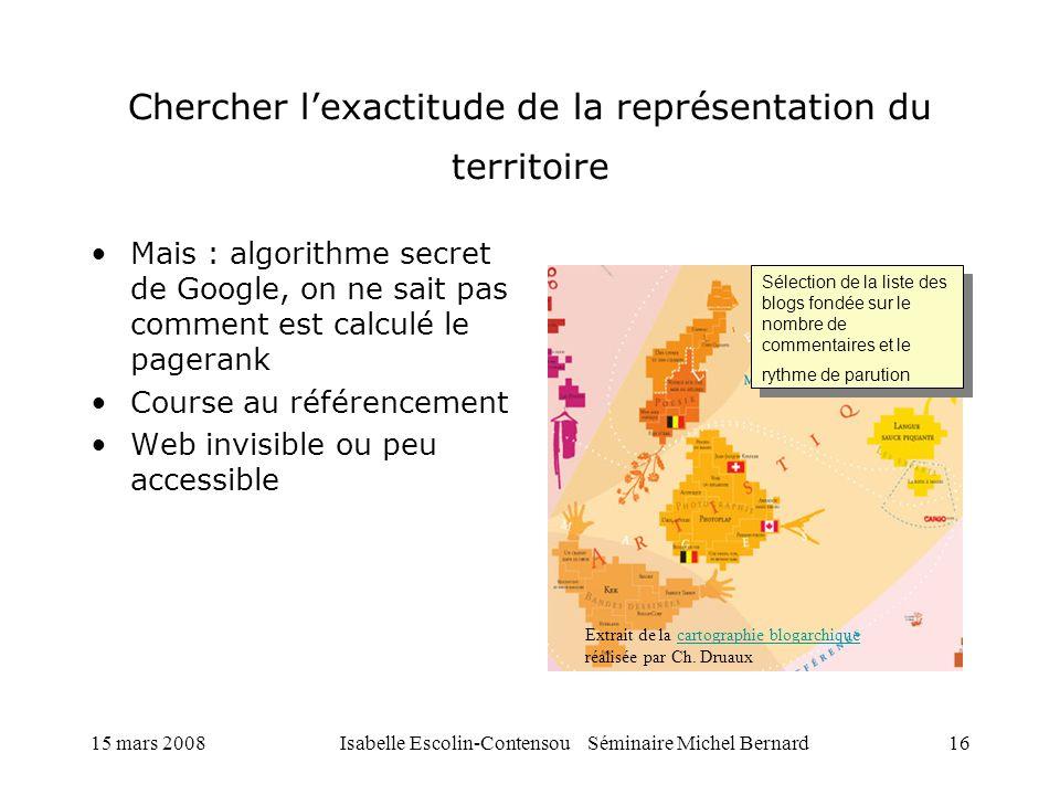 Chercher l'exactitude de la représentation du territoire