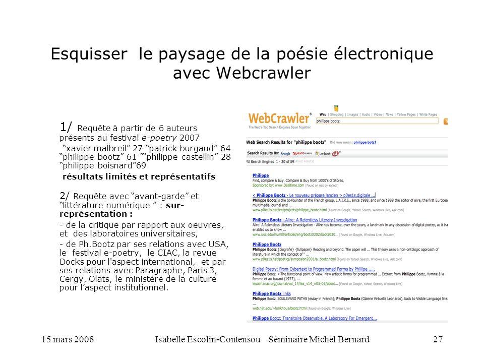 Esquisser le paysage de la poésie électronique avec Webcrawler