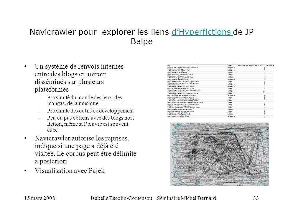 Navicrawler pour explorer les liens d'Hyperfictions de JP Balpe