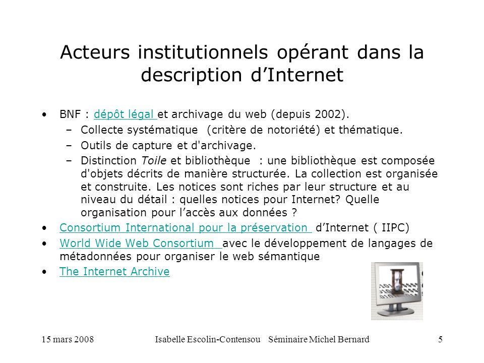 Acteurs institutionnels opérant dans la description d'Internet