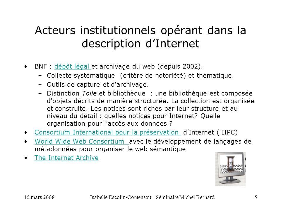 Acteurs institutionnels opérant dans la description d'Internet