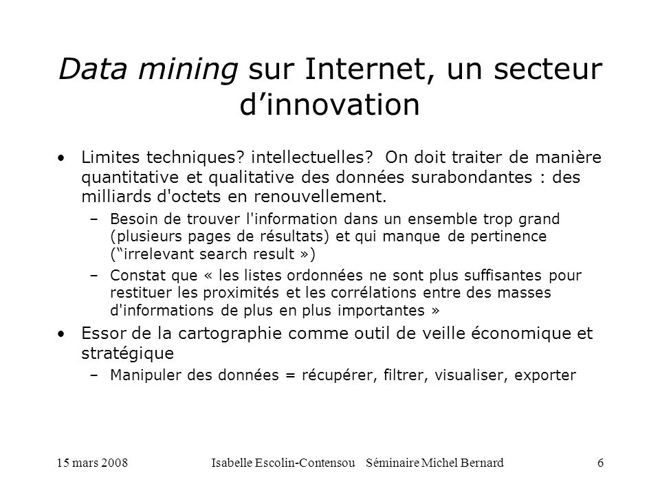 Data mining sur Internet, un secteur d'innovation
