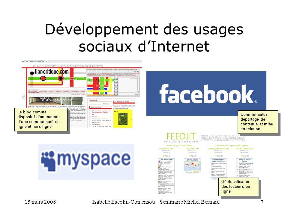 Développement des usages sociaux d'Internet