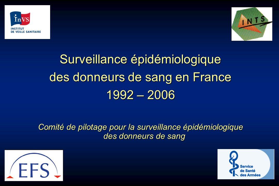 Surveillance épidémiologique des donneurs de sang en France