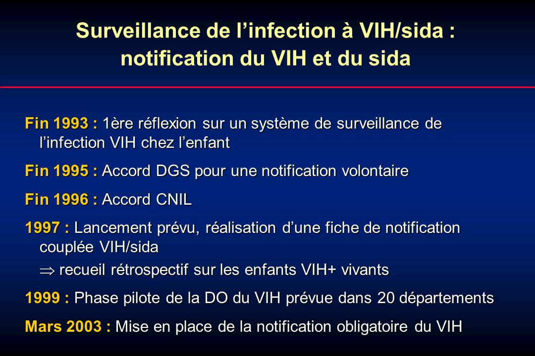 Surveillance de l'infection à VIH/sida : notification du VIH et du sida