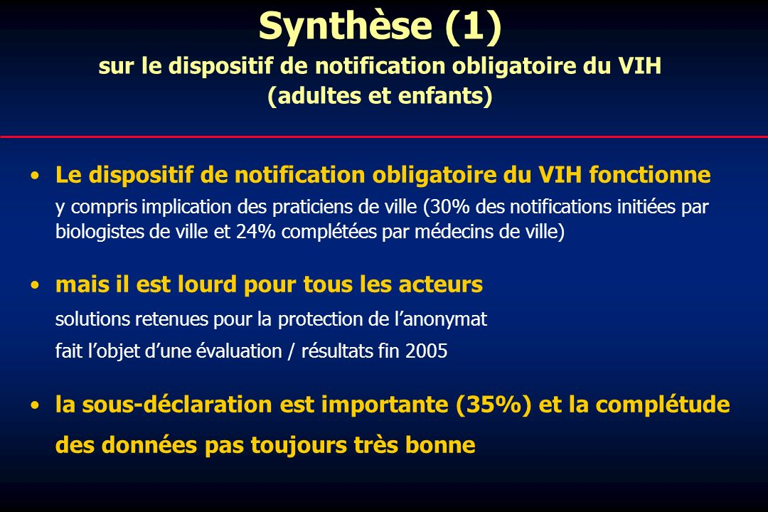 Synthèse (1) sur le dispositif de notification obligatoire du VIH (adultes et enfants)