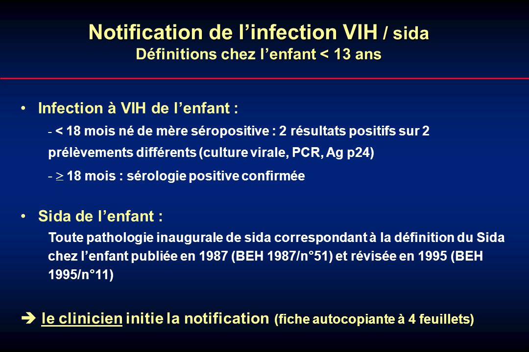 Notification de l'infection VIH / sida
