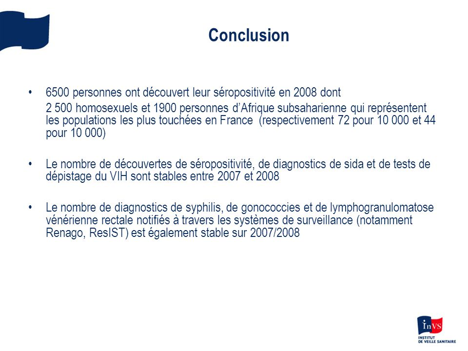 Conclusion6500 personnes ont découvert leur séropositivité en 2008 dont.
