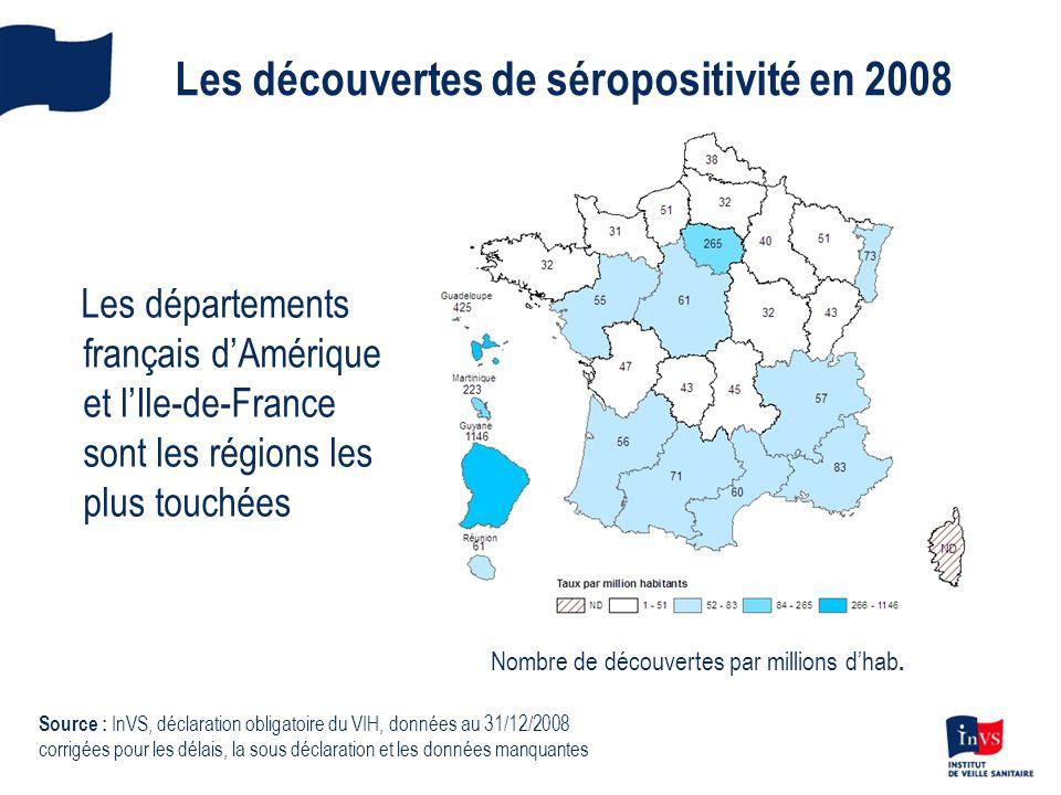 Les découvertes de séropositivité en 2008