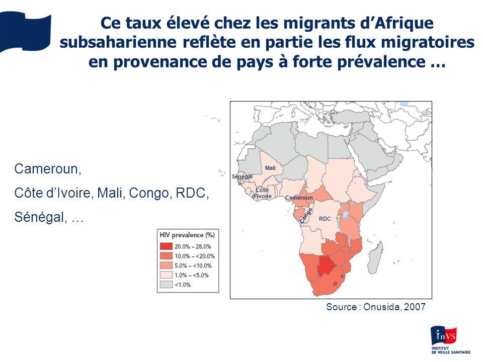 Ce taux élevé chez les migrants d'Afrique subsaharienne reflète en partie les flux migratoires en provenance de pays à forte prévalence …