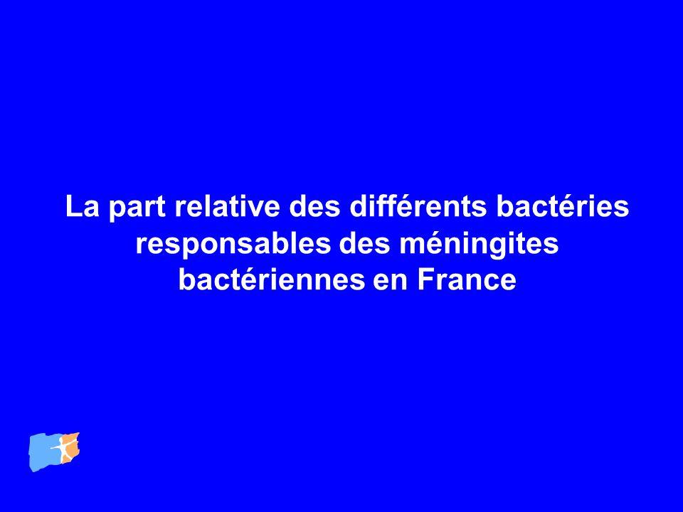 La part relative des différents bactéries responsables des méningites bactériennes en France