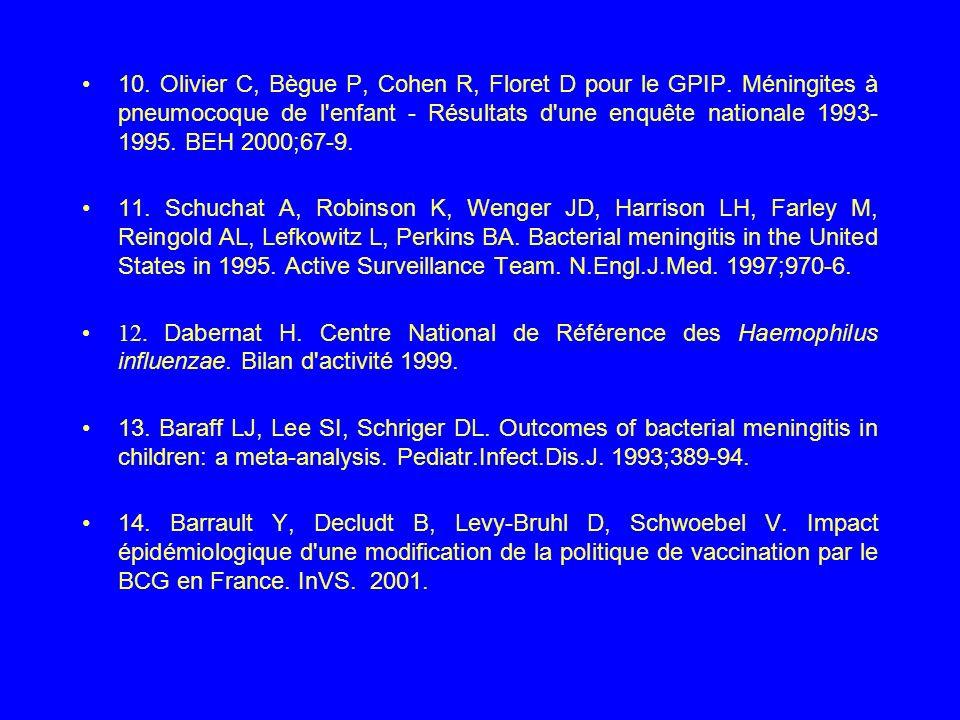 10. Olivier C, Bègue P, Cohen R, Floret D pour le GPIP
