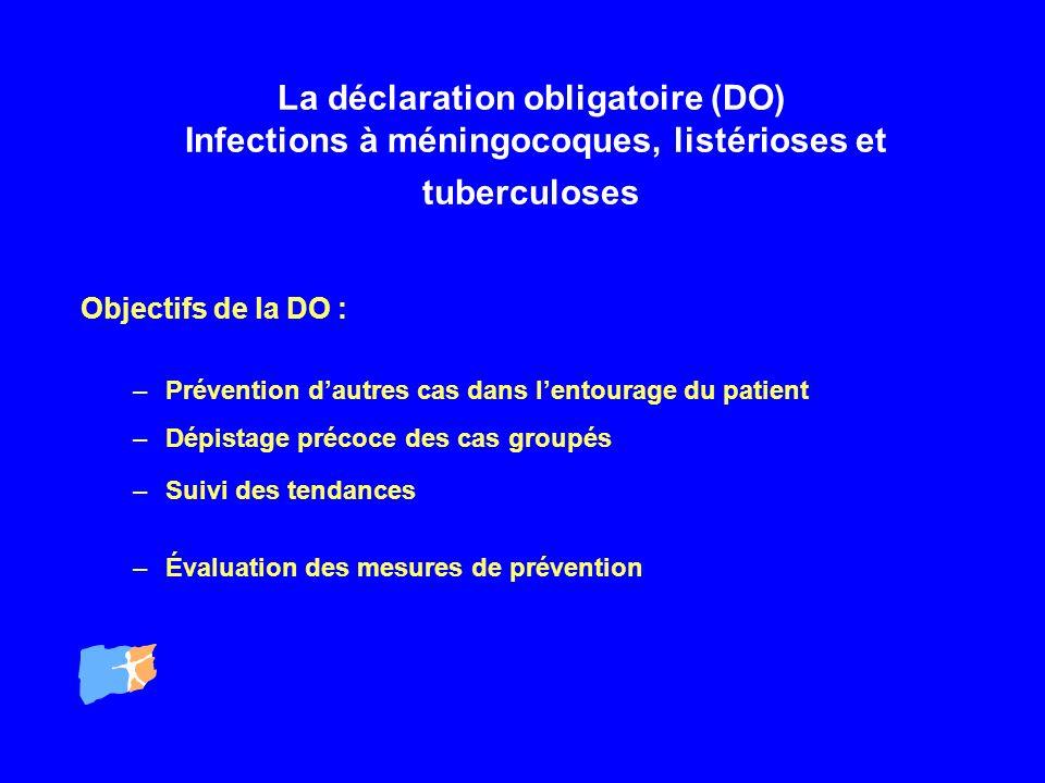 La déclaration obligatoire (DO) Infections à méningocoques, listérioses et tuberculoses