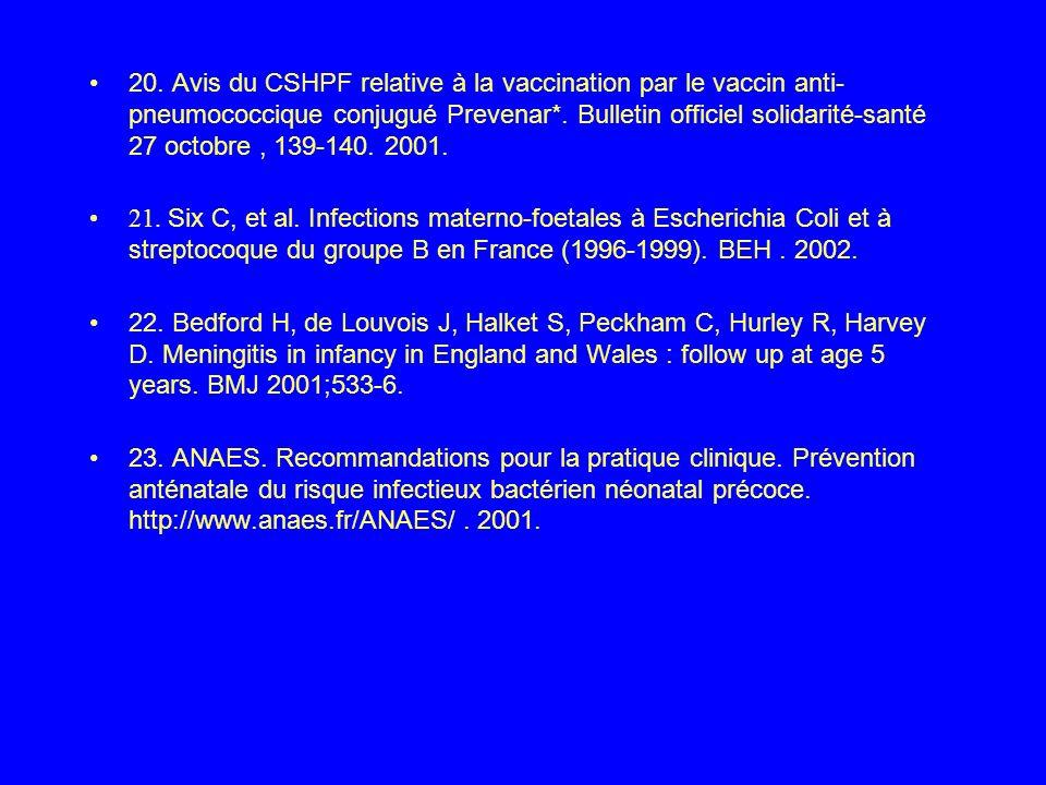 20. Avis du CSHPF relative à la vaccination par le vaccin anti- pneumococcique conjugué Prevenar*. Bulletin officiel solidarité-santé 27 octobre , 139-140. 2001.