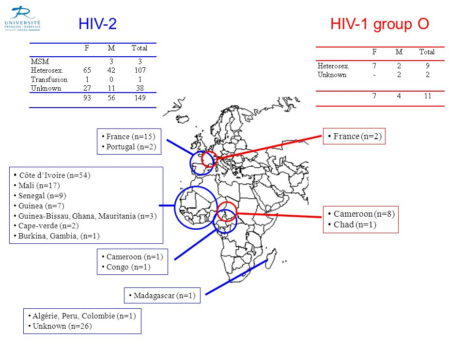 HIV-2 HIV-1 group O France (n=2) Côte d'Ivoire (n=54) Cameroon (n=8)