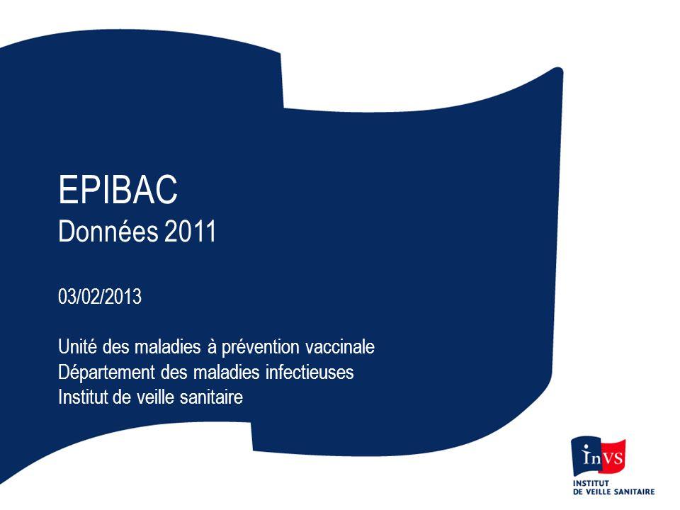 EPIBAC Données 2011. 03/02/2013. Unité des maladies à prévention vaccinale. Département des maladies infectieuses.