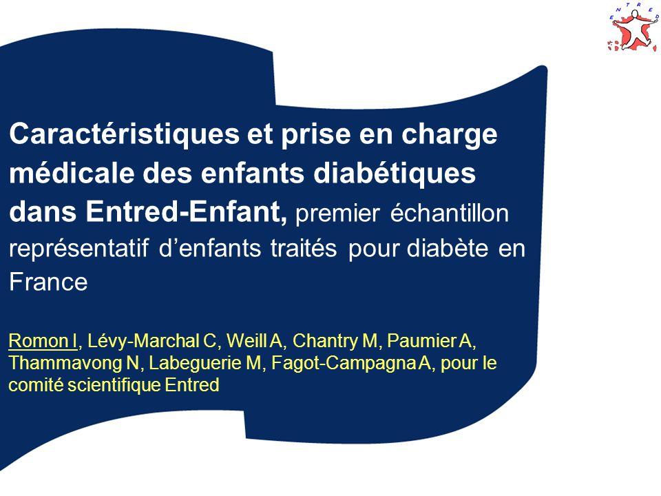 Caractéristiques et prise en charge médicale des enfants diabétiques dans Entred-Enfant, premier échantillon représentatif d'enfants traités pour diabète en France