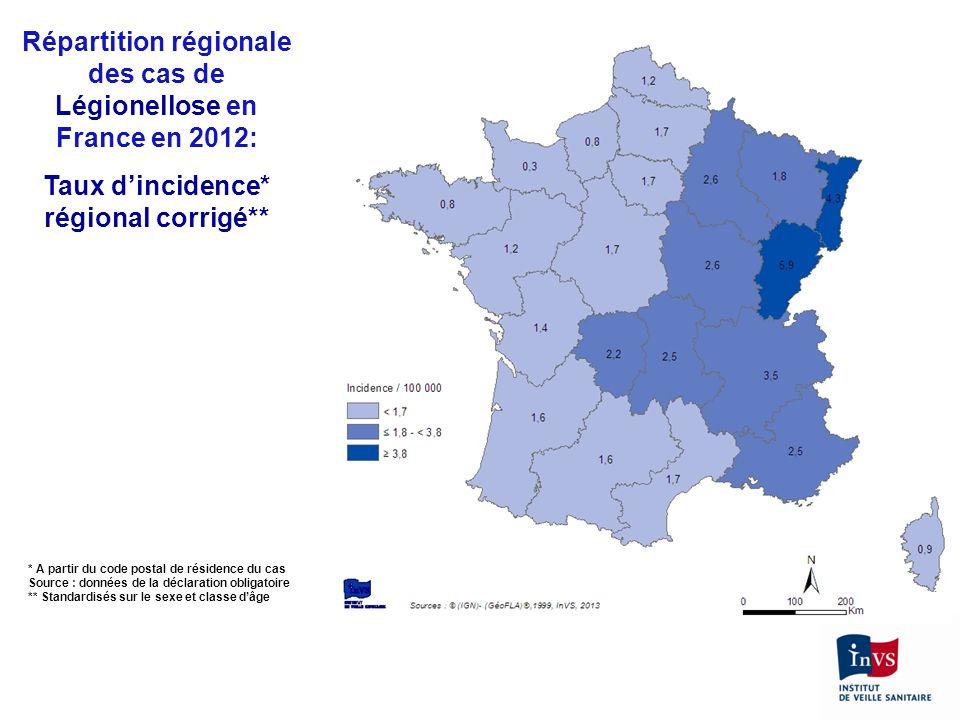 Répartition régionale des cas de Légionellose en France en 2012: