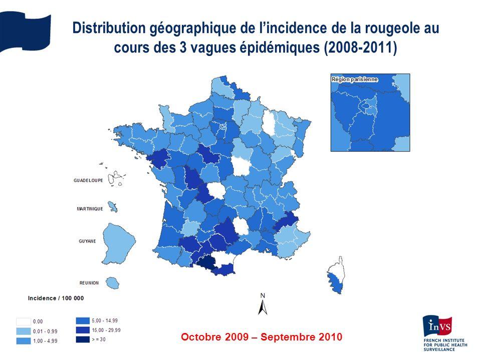 Distribution géographique de l'incidence de la rougeole au cours des 3 vagues épidémiques (2008-2011)