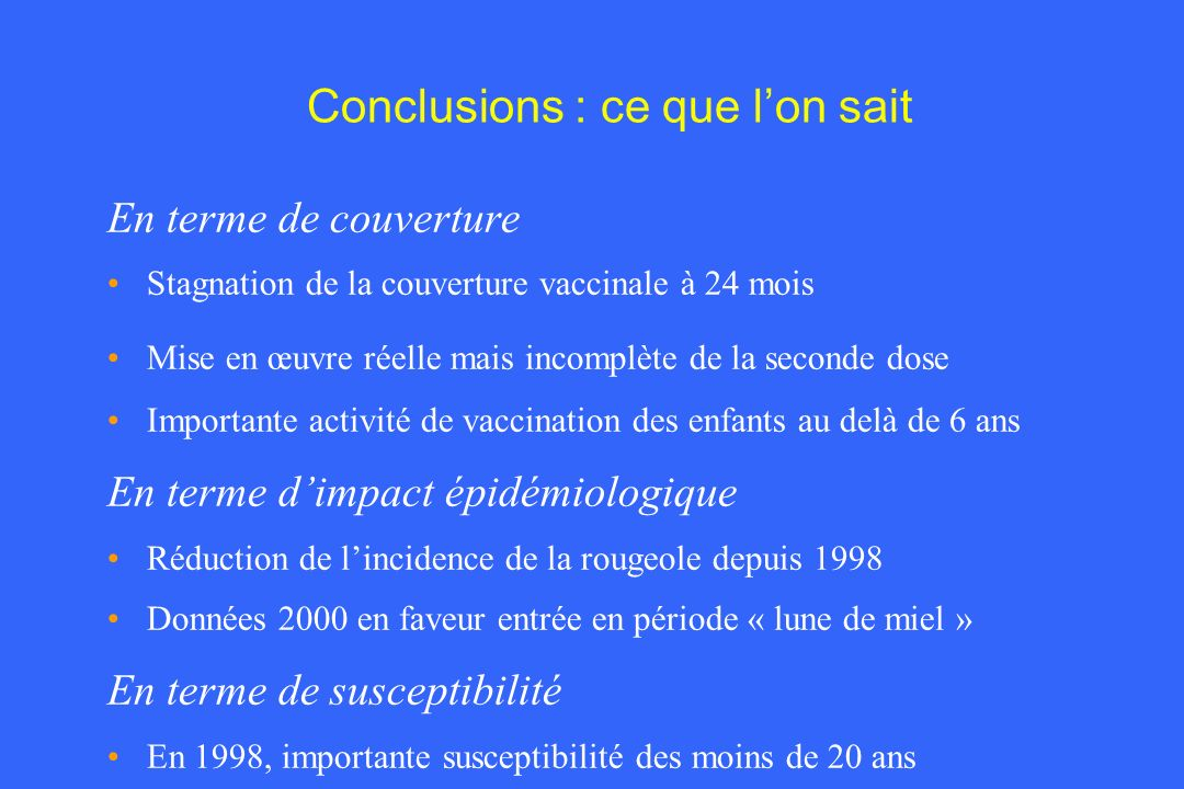 Conclusions : ce que l'on sait