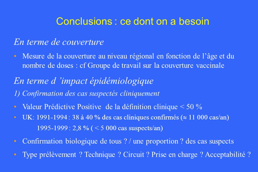 Conclusions : ce dont on a besoin