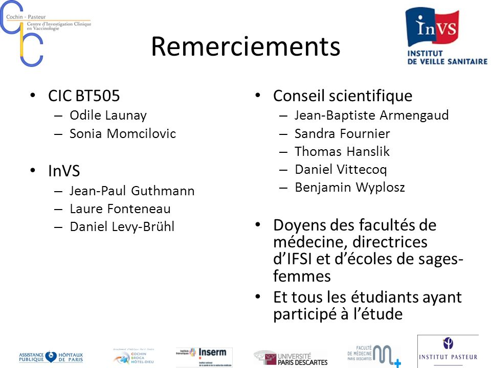 Remerciements CIC BT505 InVS Conseil scientifique