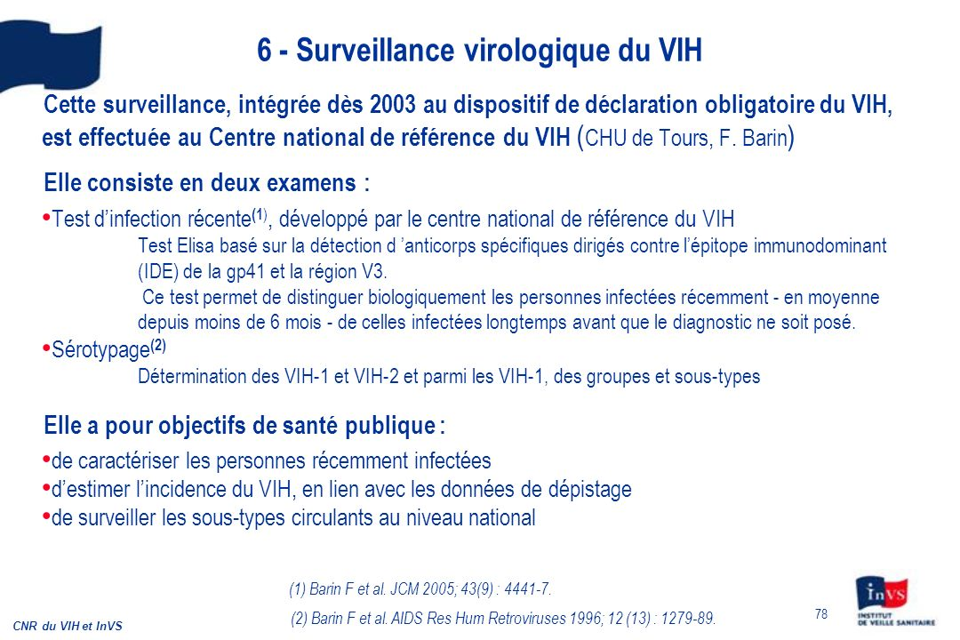 6 - Surveillance virologique du VIH