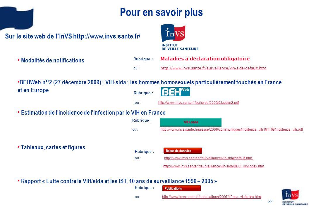 Pour en savoir plus Sur le site web de l'InVS http://www.invs.sante.fr/ Modalités de notifications.