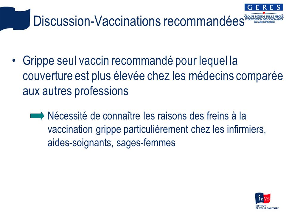 Discussion-Vaccinations recommandées