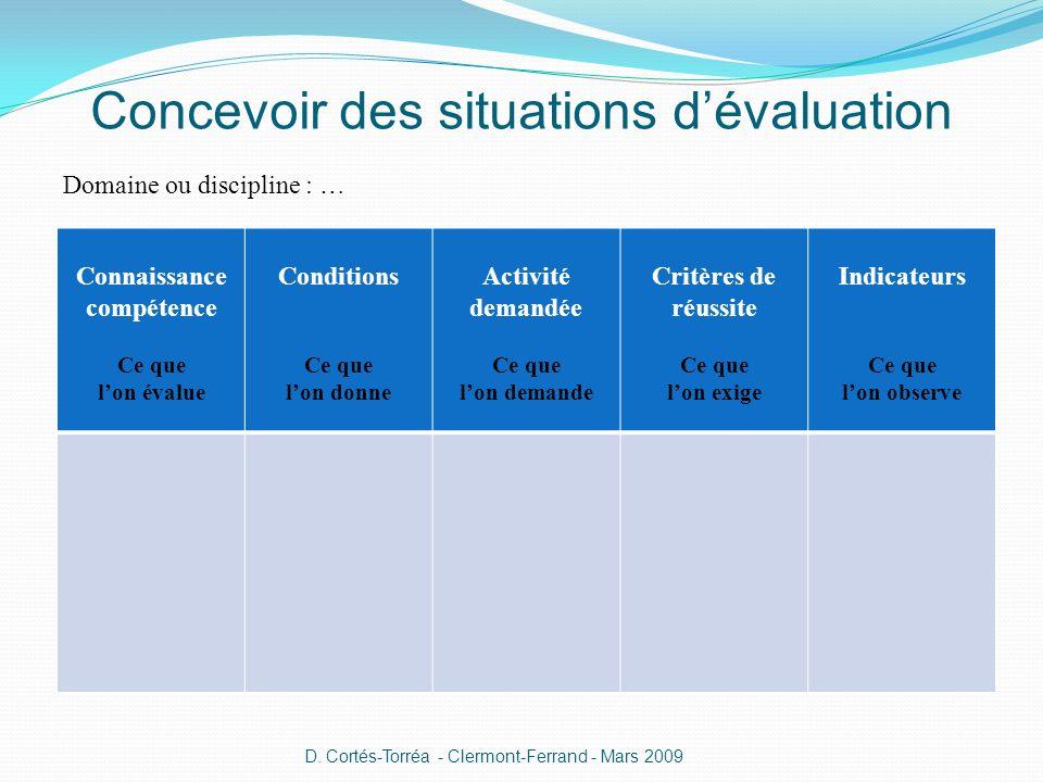 Concevoir des situations d'évaluation