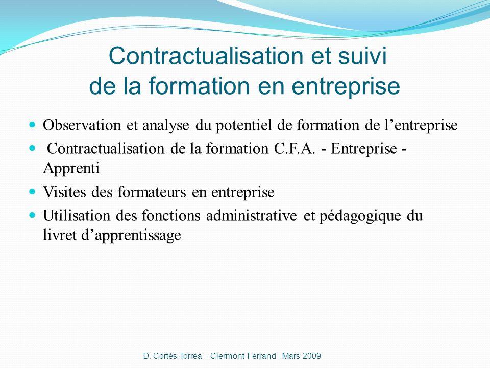 Contractualisation et suivi de la formation en entreprise