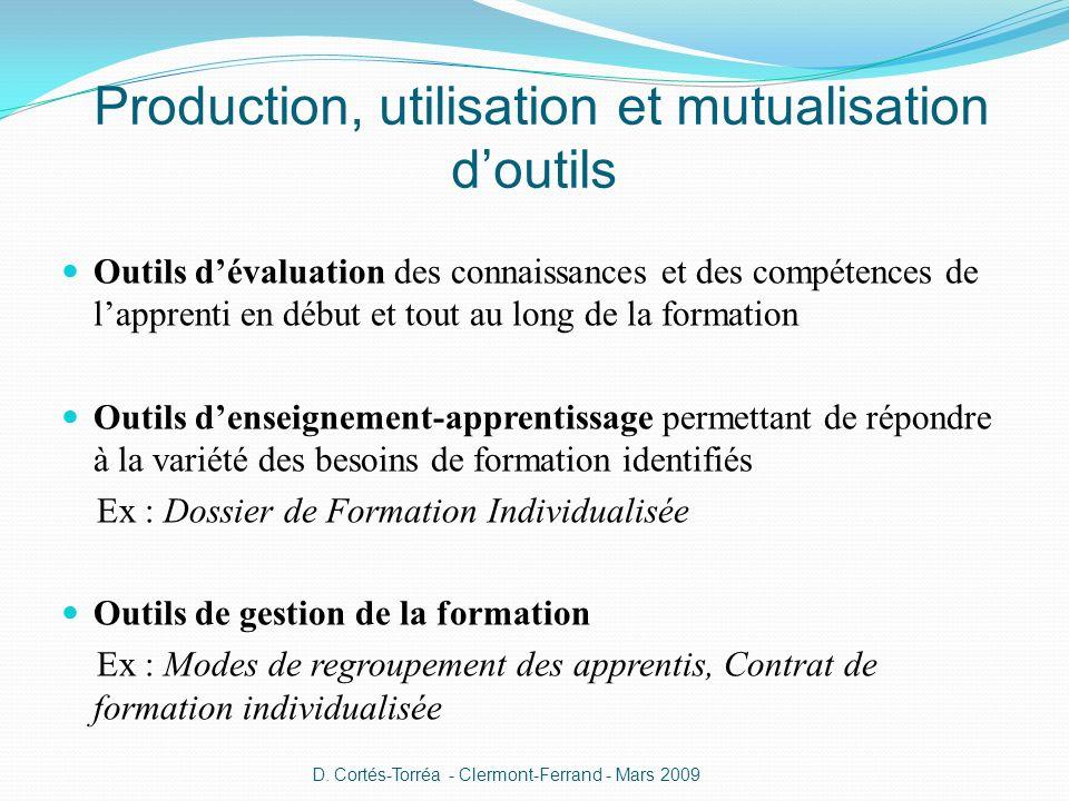 Production, utilisation et mutualisation d'outils