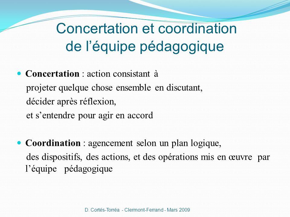 Concertation et coordination de l'équipe pédagogique