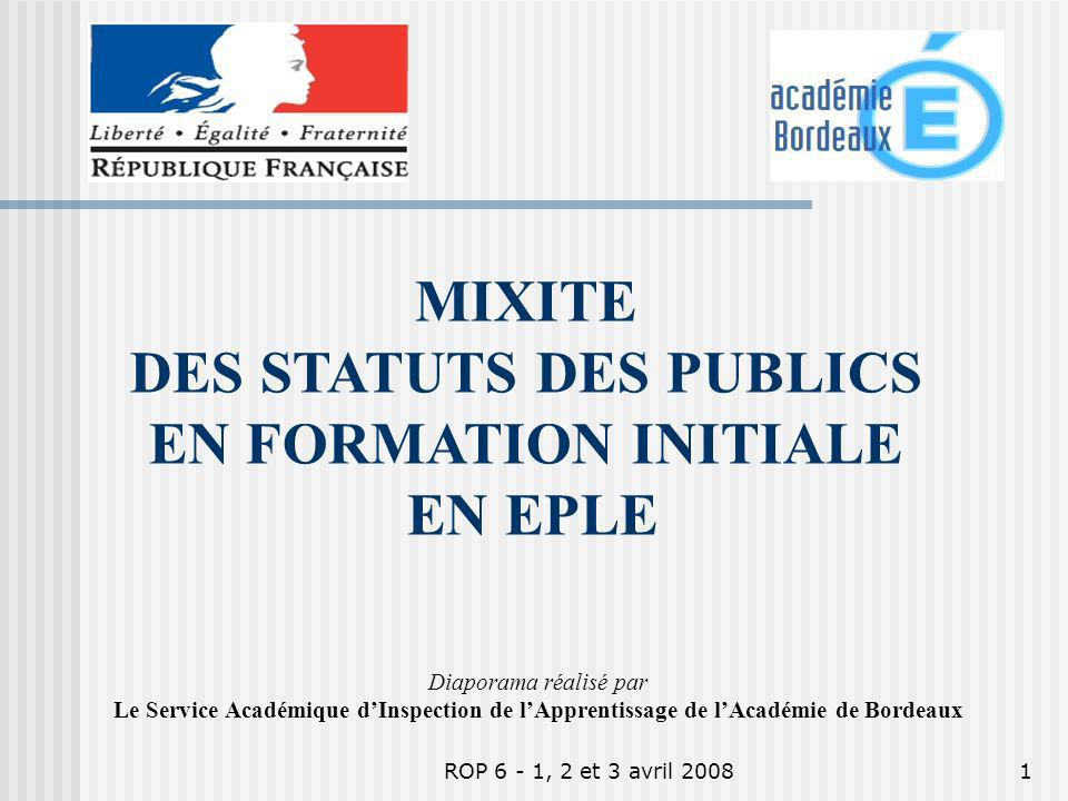 DES STATUTS DES PUBLICS