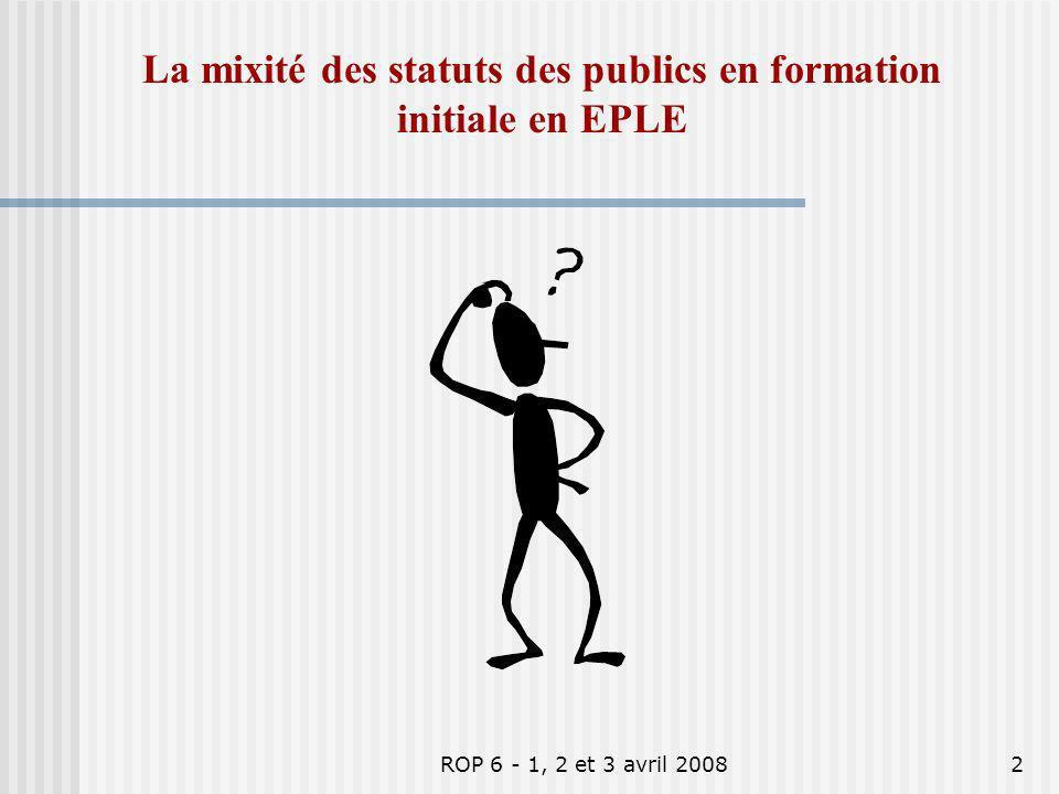 La mixité des statuts des publics en formation initiale en EPLE