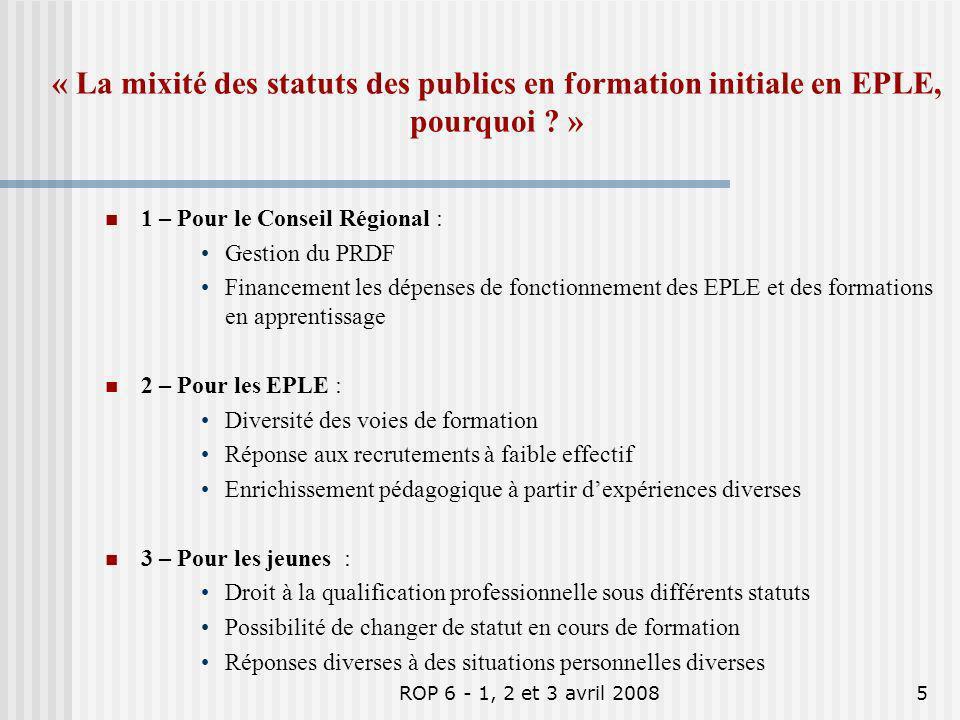 « La mixité des statuts des publics en formation initiale en EPLE, pourquoi »
