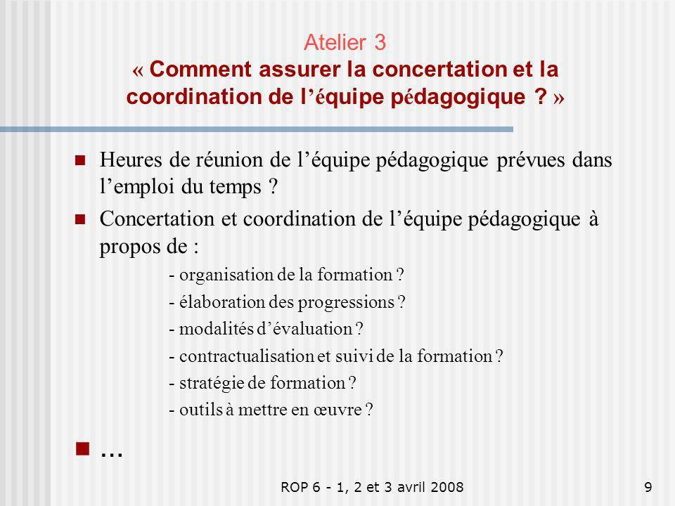 Atelier 3 « Comment assurer la concertation et la coordination de l'équipe pédagogique »