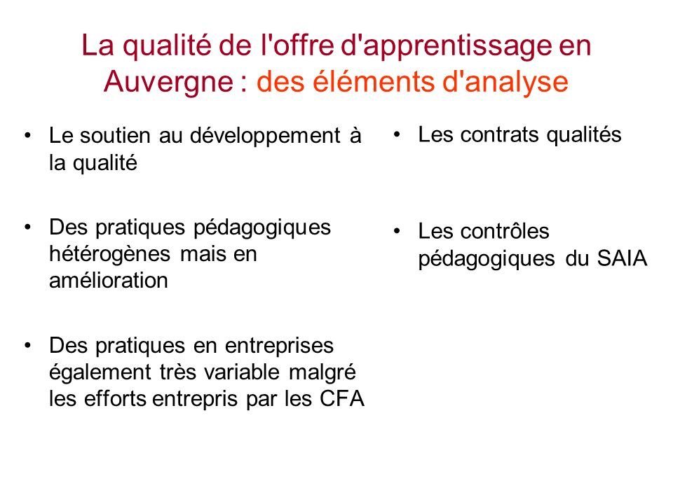 La qualité de l offre d apprentissage en Auvergne : des éléments d analyse
