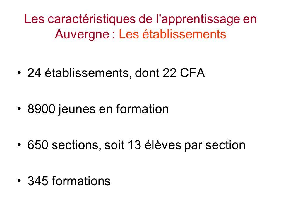 Les caractéristiques de l apprentissage en Auvergne : Les établissements