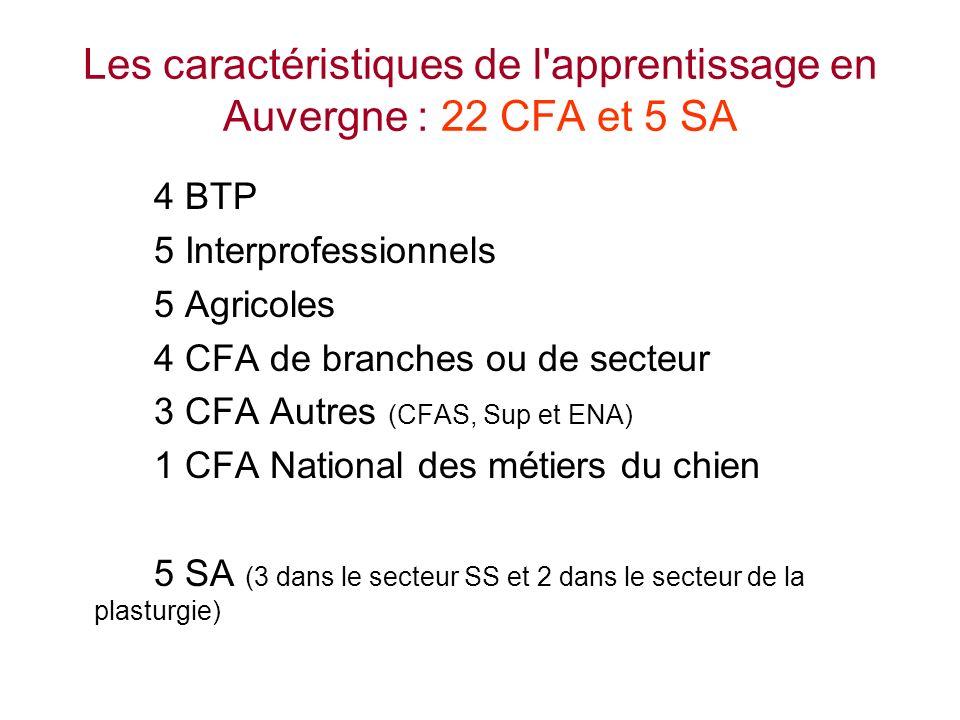 Les caractéristiques de l apprentissage en Auvergne : 22 CFA et 5 SA