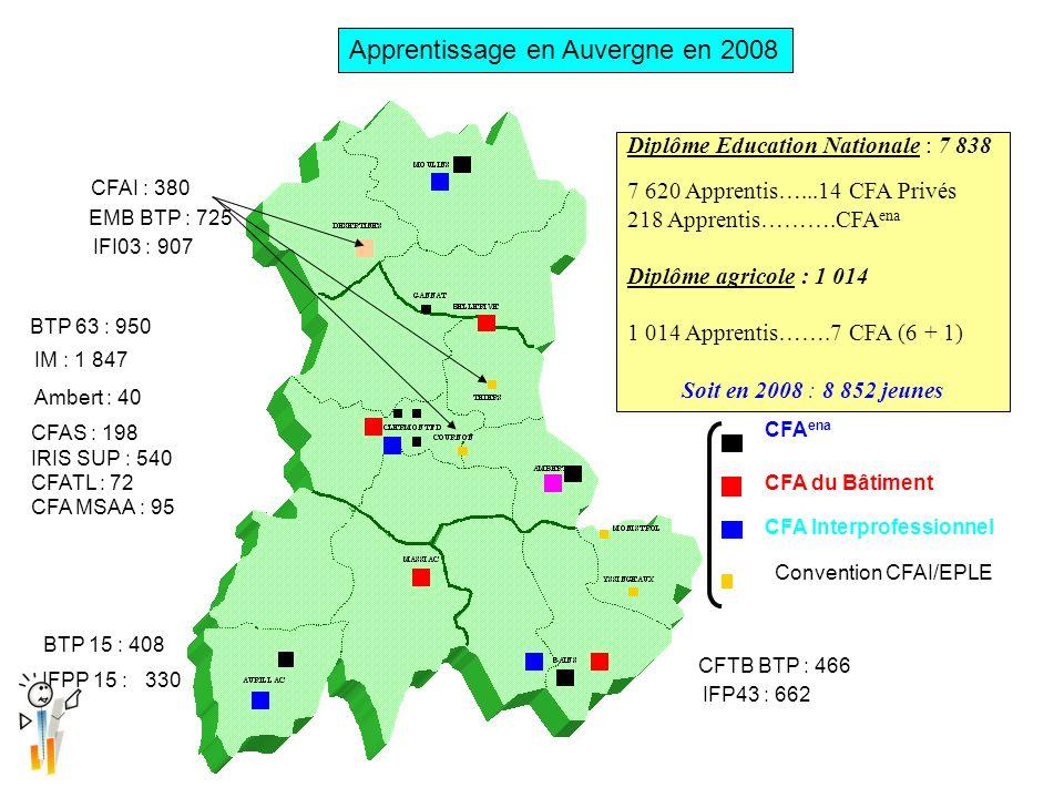 Apprentissage en Auvergne en 2008