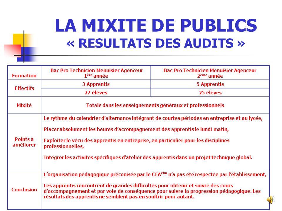 LA MIXITE DE PUBLICS « RESULTATS DES AUDITS »